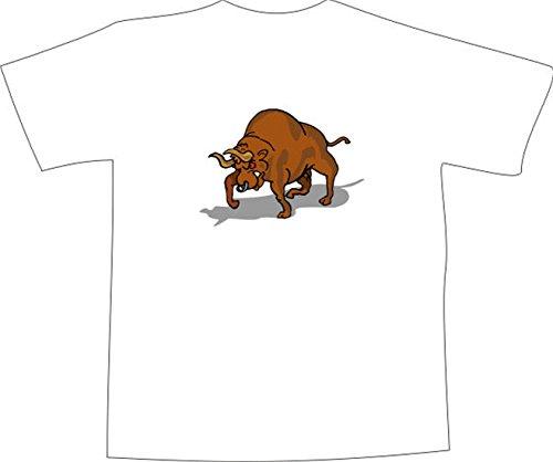 T-Shirt E964 Schönes T-Shirt mit farbigem Brustaufdruck - Logo / Grafik - Comic Design - wütender großer Stier mit Nasenring Mehrfarbig