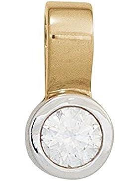 Dreambase Damen-Anhänger Einhänger Gelbgold mit Weißgold kombiniert 14 Karat (585) Weißgold 1 Diamant 0.20 ct.