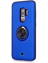 FAWUMAN Funda para Samsung Galaxy S9+ / S9 Plus Soft TPU + Duro PC Doble Parachoques,Giroscopio Rotatorio,Botón de Descompresión, con Soporte de Anillo Funda Protectora Serie -Azul Marino