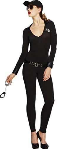 Kostüm Fbi Sexy - Fever Kollektion FBI Flirt Kostüm Schwarz mit Bodysuit Gürtel und Kappe, Small