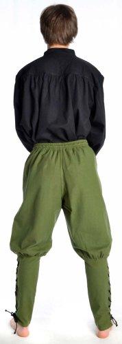 HEMAD Herren Wikinger-Hose Piratenhose Mittelalter Hose S-XXXL Baumwolle rot, schwarz, braun, beige, gruen Grün