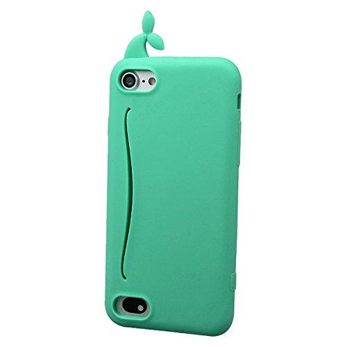 """xhorizon MSH Coque Housse Étui de silicone mignon en caoutchouc design queue de baleine lapin pour Apple iPhone 7 [4.7""""] avec film de protection en verre trempé Vert"""