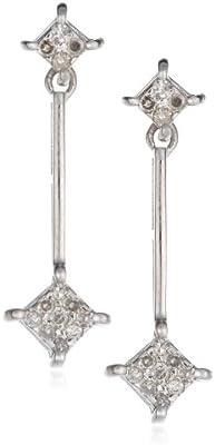 Boucles d'oreille - AME108223 - Pendientes de mujer de oro blanco (9k) con diamantes