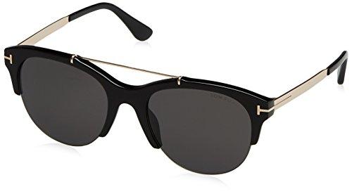 Tom Ford Unisex-Erwachsene FT0517 01A 55 Sonnenbrille, Schwarz (Nero Lucido/Fumo),