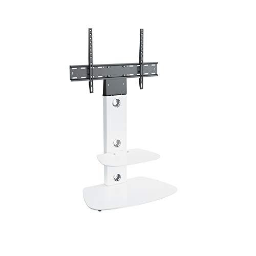 King Meuble TV Cantilever Support TV Intégré,pour Écrans de 32'' à 65'' LCD LED Plasma, H 117.7 cm (Étagères Arrondies, Blanc)