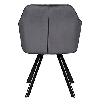 WOLTU Dining Chairs Set of 2 pcs Kitchen Counter Chairs Lounge Leisure Living Room Corner Chairs Armchairs Dark Grey Velvet Reception Chairs with Backrest & Armrests