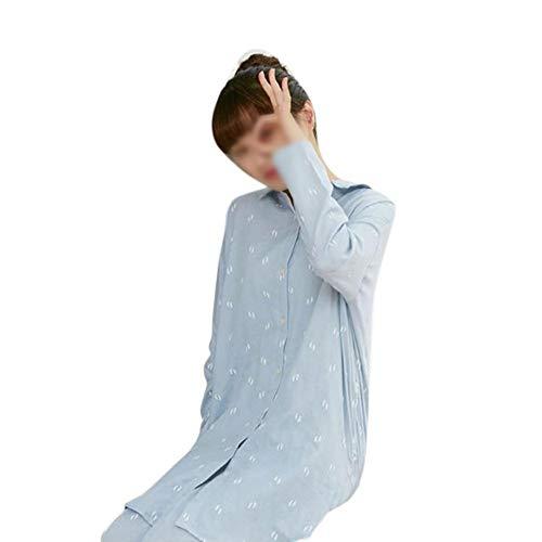 HOUYAZHAN Double Gaze weiblichen Frühling und Sommer Pyjama Langen Abschnitt der Baumwolle Langarm Home Service lose Nachthemd kann Zwei Paare Anzug getragen Werden (Farbe : Wowens(Blue), Size : L) -