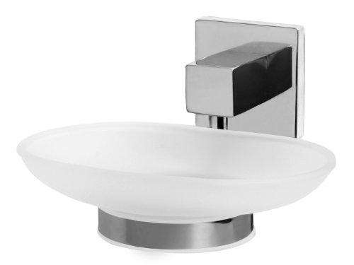 bisk-arktic-01467-porte-savon-en-verre-givre-avec-support-finition-chrome-135-x-13-x-7-cm