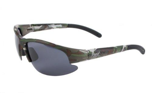 Rapid Eyewear 'Camo Solo' Tarnung SPORTBRILLE für Damen und Herren. Sport Sonnenbrille für Fischen, Schießen, Bundeswehr etc. Polarisierte Wechselgläsern. UV400 Schutz