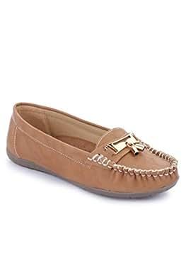 La Shades 002, Beige Designer Belly Shoes, Loafers for Women (38 EU)