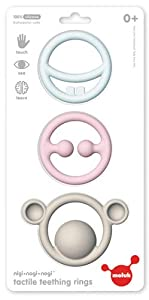 Moluk 43401 Nie Nagi & Nogi - Juguete mordedor y agarrador para bebés, Color Azul Claro, Rosa y Gris Claro