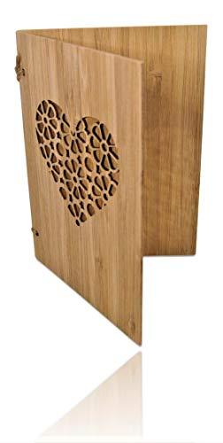 Handgefertigte beschreibbare Bambuskarte mit Herz   Hochzeitskarte   Geburtstagskarte   Geschenkkarte   Einladung Karte Holz   von SZillion®