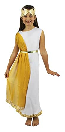 ROMAN GIRL COSTUME FANCY DRESS SCHOOL CURRICULUM ROMAN, GREEK OR EGYPTIAN GODDESS WHITE TUNIC WITH GOLD SASH & GOLD HEADPIECE SMALL