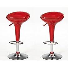 La Silla Española Pack de Taburetes, Plástico, Rojo, 44x38x88 cm, 2 Unidades