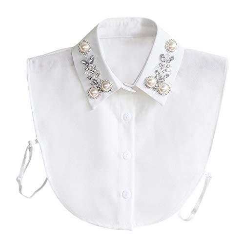 Hocaies Frauen Kragen Vintage Elegante Abnehmbare Hälfte Shirt Bluse Cotton Kragen Weiß Damen Blusenkragen (Pearl V1) -