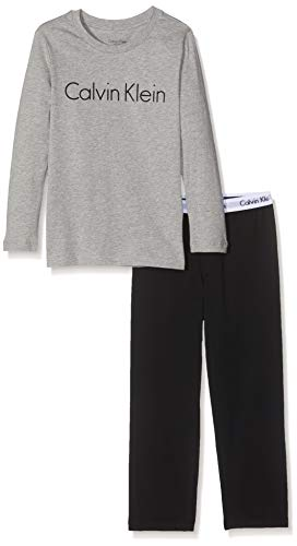 Calvin Klein Jungen Ls Knit Pj Set Zweiteiliger Schlafanzug, Grau (Grey Heather W/Black 044), One Size (Herstellergröße: 14-16) -