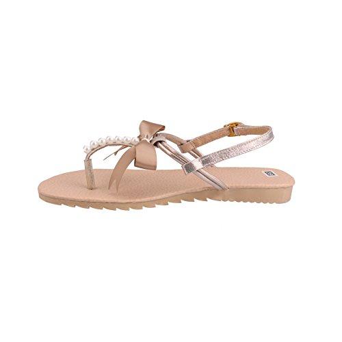 Scarpe Donna Estive - LATH.PIN Casual Infradito con Perlina Arco Pantofole Boemia Dolci Sandali Flat Oro