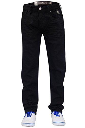 New Mens Designer Crosshatch Brand Denim Jeans Stretch Slim Straight Cut Pants Jet Black