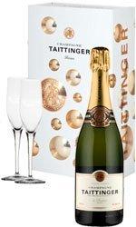 Taittinger Brut & 2 Glass Pack Champagne Gift Box 1 Bottle