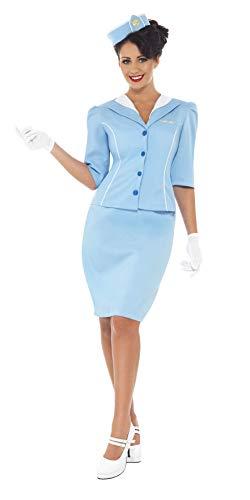 Smiffys, Damen Stewardess Kostüm, Jacke, Mock Kragen Hut und Rock und Handschuhe, Größe: S, 22117