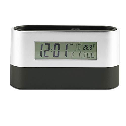 Iadong Pen Holder Digitales Thermometer, Namenskarten-Container-Tischuhr Digitaler Wecker mit Zeit- / Ewiger Kalender/Snooze, Timer und Geburtstagsansagenfunktion, geeignet für Home Office School Ein Thermometer Pen