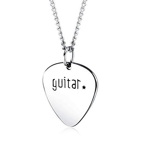 Jbniuay Herren Edelstahl Gitarre Plektrum Anhänger Kette Silber Punk Rock Herrenkette
