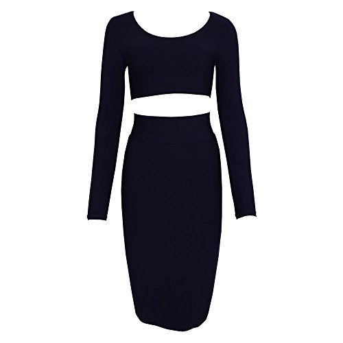 HLBandage 2 Piece Long Sleeve Midi Bodycon Bandage Dress Noir