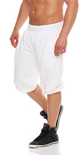 Gennadi Hoppe Herren 3/4 Trainingshose Jogginghose Bermuda Pant (3XL, weiß) (Weiß Trainingshose Baumwolle)