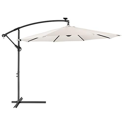 Arebos Parasol de terrasse/Jardin Parasol/Suspendu avec éclairage / 40 LED Ø3m / crème