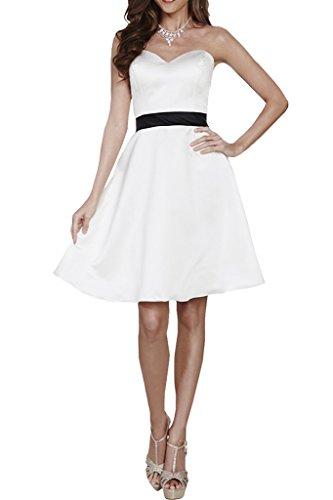 Missdressy Damen Satin Herzform Knielang Schaerpe A-Linie Abendkleid Weiß