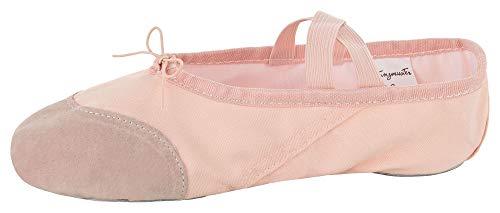 tanzmuster Ballettschuhe Robin aus Leinen mit Lederverstärkung, geteilte Sohle, für Kinder und Erwachsene, rosa-apricot, Größe:24
