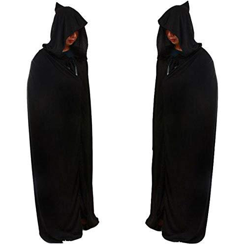 2 Pack Unisex Umhang mit Kapuze für Halloween/Karneval Fasching Kapuzenmantel Kostüm Cape-schwarz