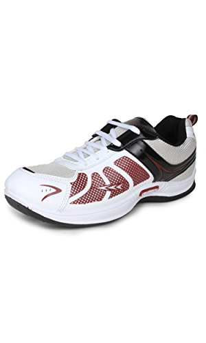 4. Columbus Men White Black Maroon Sports Shoes