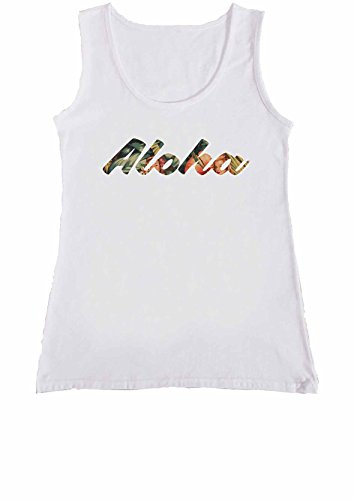 Aloha Pin Up Girl Hawaii Hawaiian Popular Women Ladies Vest Tank Top T Shirt .Blanc