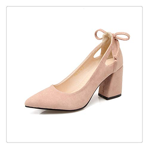 Women Pumps Thick Heel Female Shoes Pointed Toe High Heels Bow Ladies Party Shoes Slip On Shoes Black Plus Size 33-46 43 Pink 6 (80-dollar-schuhe)