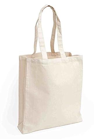 12 Sacs de coton avec longues poignées   Couleur naturelle   Décoration artisanat bricolage   Sacs réutilisables minimalisme Shopper by
