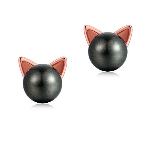Ohrringe Frauen schwarze Katze Ohrstecker schwarze Perle Ohrringe Katze Schmuck Frauen schöne Katze Ohrringe für Mädchen ()