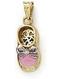 Pendentif 14ct Rose Chaussures Bébé Émaillées - Jewelryweb rYO7C8E