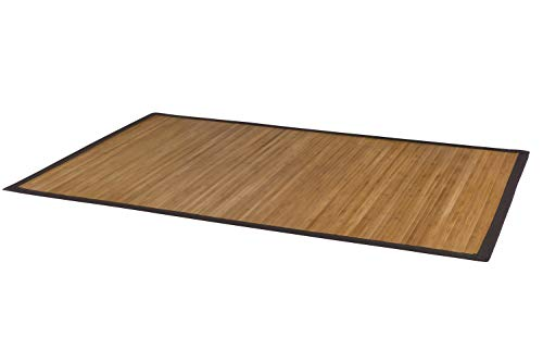 DE-Commerce Bambusteppich Natural für Schlafzimmer, Küche, Flur, Wohnzimmer, Bad, Büro I Teppichläufer Bettumrandung Brücke I Premium Bambusmatte 90 x 160 cm mit breiter Bordüre