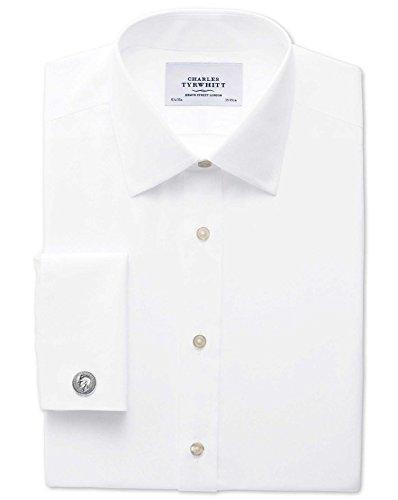 Bügelfreies Extra Slim Fit Hemd aus Popeline in weiß weiß (Umschalgmanschette Cuff)