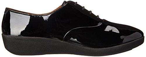 FitFlop F-Pop Patent, Chaussures à Lacets Femme Noir (All Black)