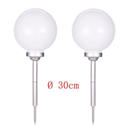 2er 30 cm LED Solar Kugelleuchte mit Erdspieß Weiß Gartenleuchte Lampe