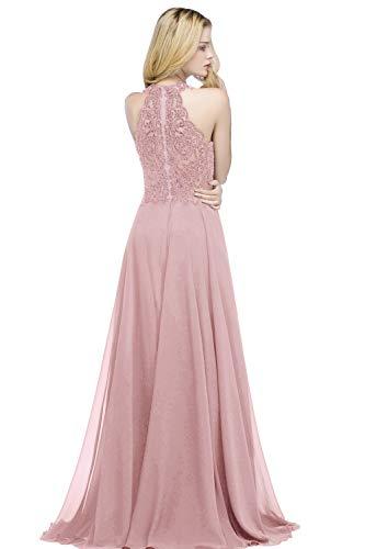 Damen elegant Chiffon Rosa Abschlusskleid mit Strass A Linie Ballkleider Rosa 38