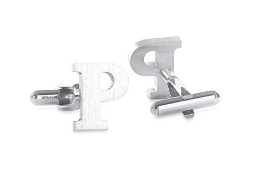 SMARTEON® Manschettenknöpfe für Herren | Premium Buchstaben A-Z | Silber & Schwarz aus hochwertigem Edelstahl in mattem Design | Elegante Cufflinks in einem edlen Geschenk-Set (P - silber)