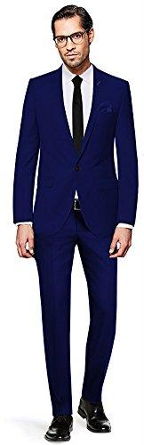 PABLO CASSINI Herren Anzug Fine Art - 3 teilig - Königsblau Blau Smoking Ein-Knopf Hochzeit Business PCS_4 (52) (Individuelle Drei-knopf-anzug Passform)