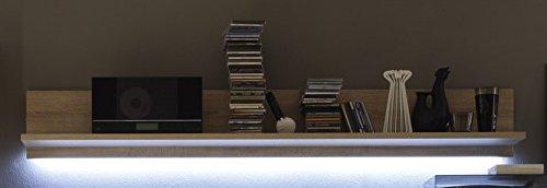Dreams4Home Wohnwand 'Nassau II' – Wohnwand, Anbauwand, Wohnzimmerschrank, Schrankwand, TV-Wand, Vitrine, TV-Lowboard, Wandboard, B/H/T: ca. 278 x 187 x 43 cm, Wohnzimmer, in Sonoma Eiche/ weiß Hochlganz, Beleuchtung:mit Beleuchtung - 3