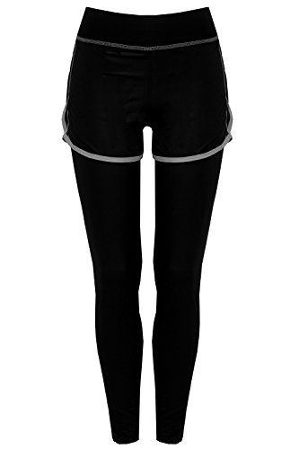 Bongual Damen 2 in1 Sporthose Shorts mit Leggings Funktionstights Laufhose Gym Sportkombi Duo (M (34), Grau-Lang)