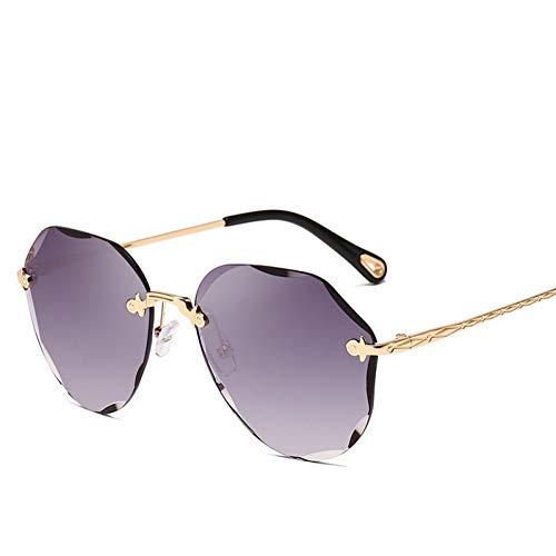 TIANKON New Lady Pilot Übergroße Randlose Sonnenbrille Frauen Schneiden Objektiv Ozean Sonnenbrille Für Frauen,Goldgraud