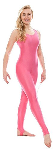 KDC011 All Colours & Sizes Ladies Girls Shiny Stirrup Dance Gymnastics Sleeveless Unitard Catsuit