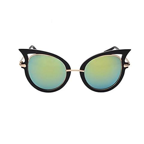 Lunettes de Soleil , Oyedens Femmes Mode Œil de Chat UV400 Métal Cadre Lentilles Verres Effet Miroir Classique Lunettes De Soleil Polarisées (#F)